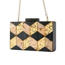71ef7447a648 Телесного цвета золотой блеск черный жемчуг в полоску геометрический акрил  клатч Для женщин плеча вечерние летние