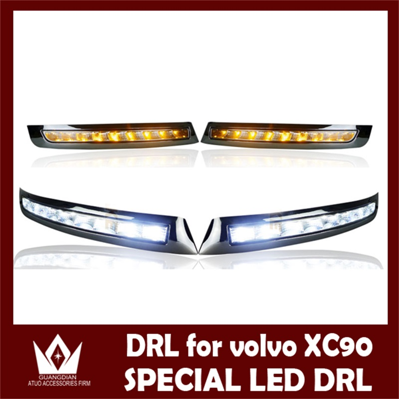 1Set Auto LED Daytime Running Lights DRL Auto LED White+Yellow Fog Lamp With Yellow Turn Signals Lights For Volvo XC90 2007-2013 3000 10000k lights drl led for lexus rx gyl1 ggl15 agl10 450h awd 350awd 2008 2013 fog lamps white yellow blue 1 set 81210 0d042