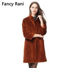 Новинка, пальто для стрижки овец, стоячий воротник, женская зимняя длинная куртка из овчины, натуральная овечья шерсть, пальто, теплое шерстяное пальто