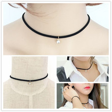 New fashion jewelry leather rope chain link rhinestone pendant necklace gift for women girl N1788