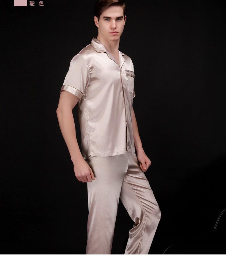 45cb92ca6beed Анти натуральный шелковый мужская пижама Костюм шелковистой Весной и Осенью  Пижамы халат Вышивка технологии Leisure suit Пижамы Новый купить на