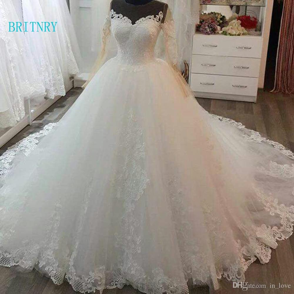 BRITNRY 2018 Vintage Ball Gown Wedding Dresses O Neck Lace Court Train Bride Dress Long Sleeve Plus Size Wedding Dress