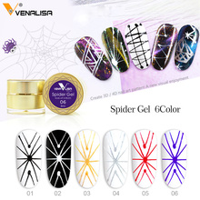 2019 venalisa new nail color Spider gel 6 colors gold sliver paint string lace nail uv led soak off 3d gel paint liner nail gel elite99 6 colors uv led soak off gel nail polishing set