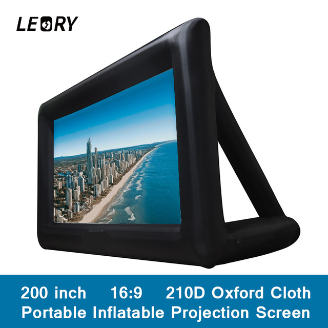 LEORY 200 inch 16:9 Portable Inflatable Projection Screen Giant Screens 210D Oxford Cloth For Home Theater Bar Travel Party