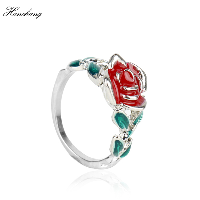 HANCHANG Beauty and the Beast Ring Red Green Enamel Jewelry Rose ...