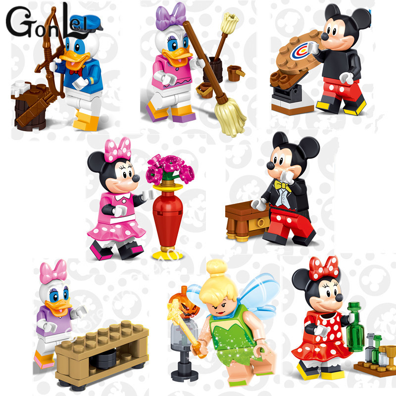 GonLeI Girls 8Pcs Building Blocks Cartoon Don Donald Duck Mickey Minnie Mouse Daisy Stitch Aladdin Kids Toys Lepin