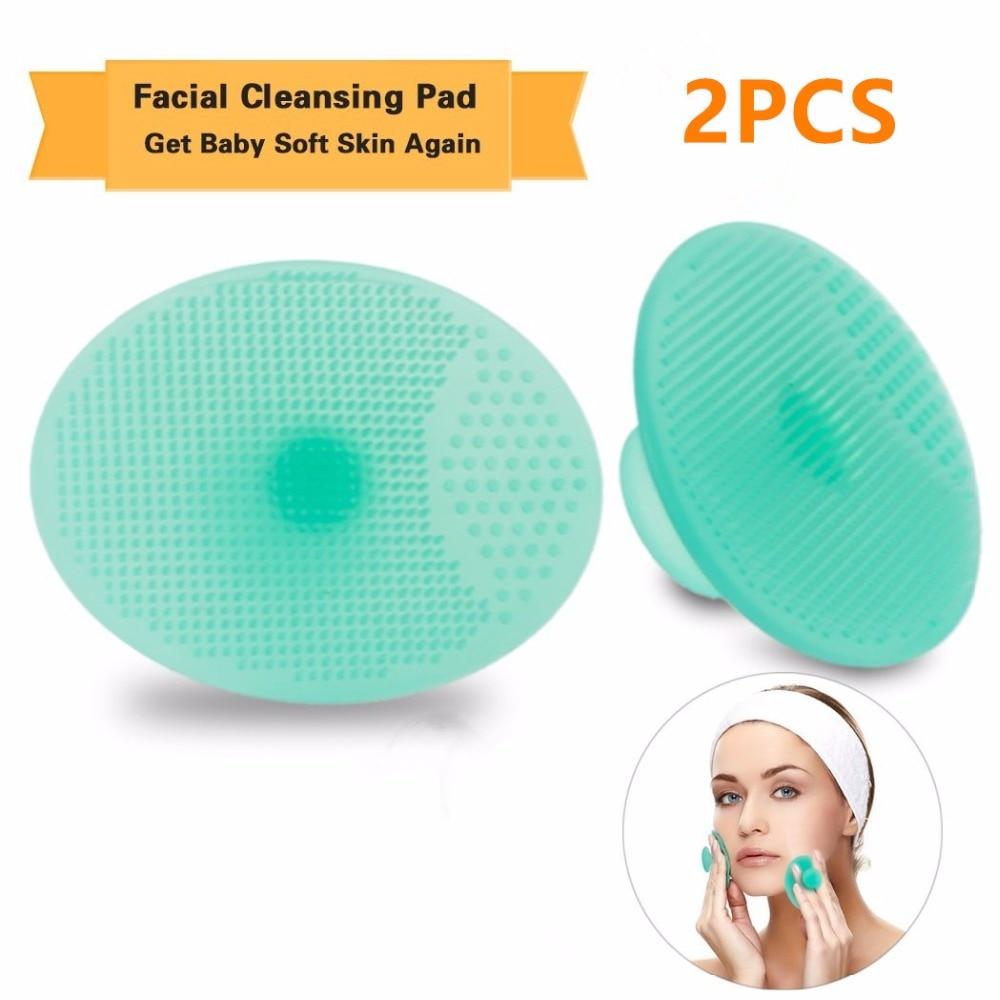 2 чифта (4 бр.) Почистваща подложка Измиване на лицето Четка за почистване на лицето Спа кожата Почистваща почистваща течност Инструмент за премахване на силиконова гел