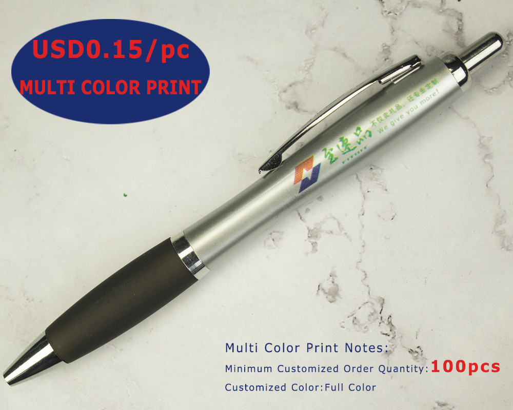 Image 5 - Lot 50pcs Retractable Plastic Guard Ball Pen,Silver Barrel Ballpoint,Free Laser Engraved Custom Promotion Gift,Fair Advertise-in Banner Pens from Office & School Supplies
