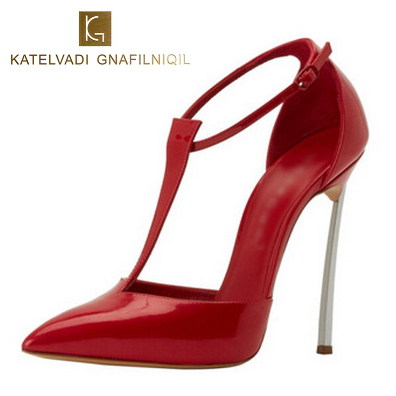 Brand Sandals Women High Heels Patent Leather Red Shoes Woman 10CM Heels Sandals Summer Sexy Womens Sandals Pointed Toe B-0034 new 2017 sexy point toe patent leahter high heels pumps shoes sandals pr1987 woman s red sandals heels shoes wedding shoes