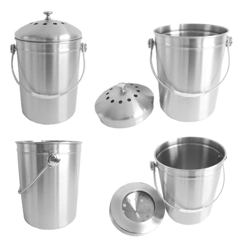 Stainless Steel Mini Kitchen Waste Bin Trash Can Garbage Cans for Home Office Car Use Hot Sale