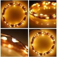 Los 33ft 10 m 100SMD Alambre de Cobre LED Cadena Luz de Hadas Del Banquete de Boda de Navidad A Prueba de agua + DC 12 V Adaptador