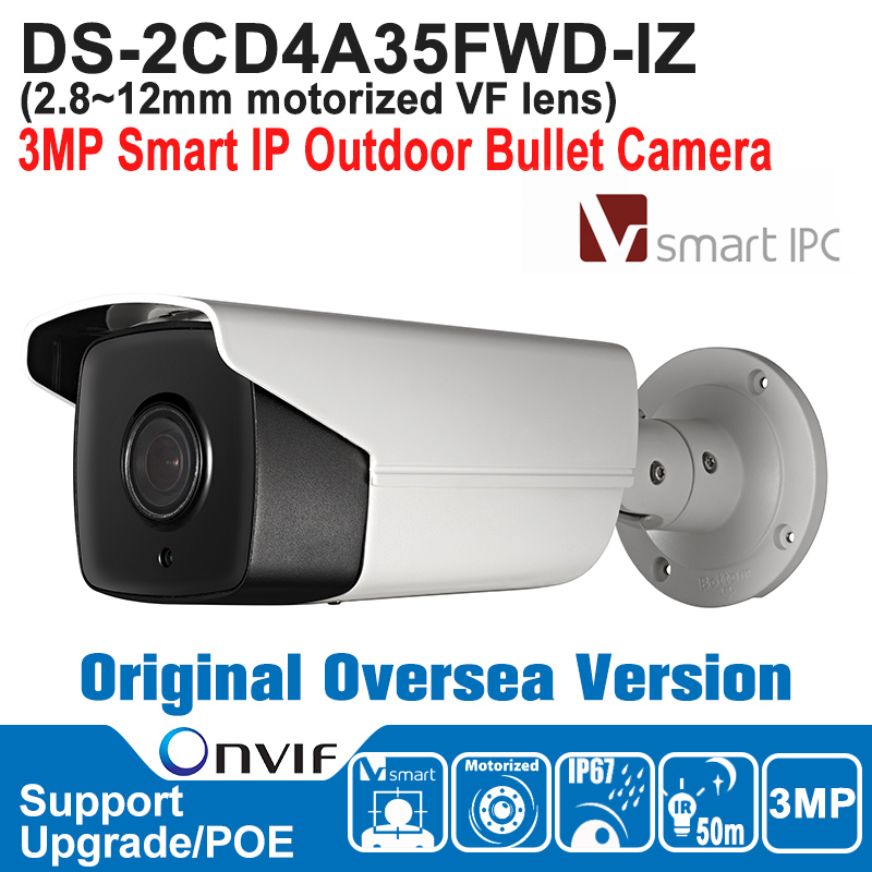 hikvision international version ds 2cd1631fwd iz 3mp ip bullet camera 2 8mm 12mm motorized vf lens ezviz p2p poe ir 30m outdoor DS-2CD4A35FWD-IZ ONVIF IP67 Hikvison IP Camera POE Outdoor 3MP Smart IP Outdoor Bullet Camera Motorized VF Lens Oversea Version