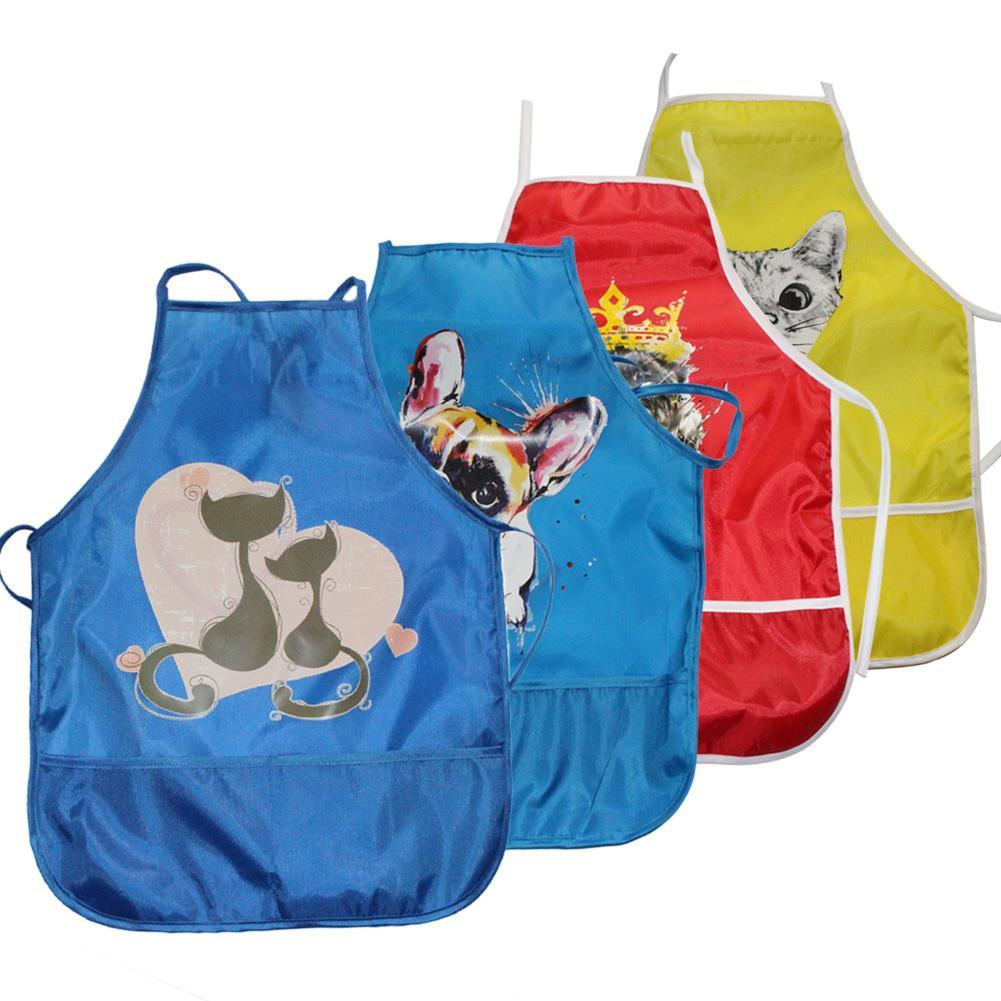 1 Stück Katze Hund Tiger Gedruckt Zeichnung Malerei Wasserdicht Bib Kittel Kinder Fütterung Schürze Wohltuend FüR Das Sperma