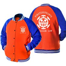 Anime one piece jacket funny Trafalgar Law tracksuit hip hop fleece streetwear brand sweatshirt men homme baseball jackets coat
