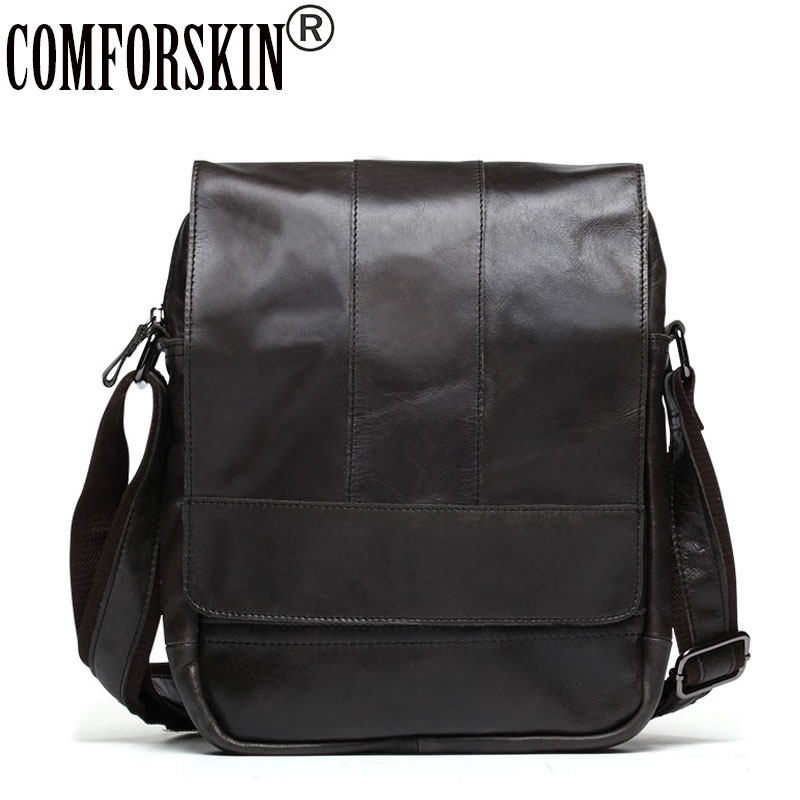COMFORSKIN Brand New Arrivals Men Messenger Bag 2018 Hot Sales Vintage Cover Style Guaranteed Genuine Leather Men's Shoulder Bag цена