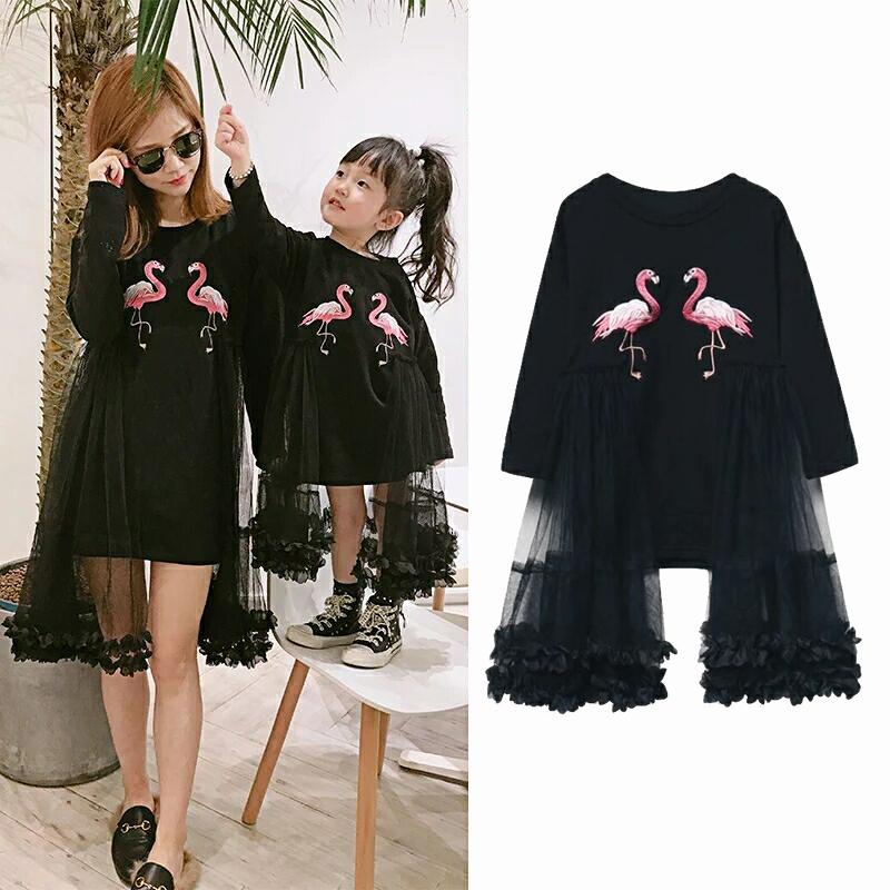 Spring Autumn mother daughter dress matching family outfits mother kids dress matching outfits flamingo embroidery 1 to 11 yrs