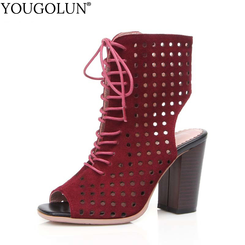 YOUGOLUN Summer Boots Women Slingbacks Thick Heel 9 cm High Heels Genuine Cow Suede Leather Cross-Strap Peep toe Shoes #A-035 pearl high heels shoes thick green women strange suede abnormal catwalk genuine leather pointed toe strap mary jane lace up