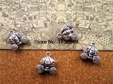 10 pces -- prata antiga 3d natal abóboras carrinhos carros encantos pingentes 15x14x7mm