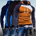 Men Spring Warm Hoody Ourdoor Slim Fit Splicing Color String Casual Pullover Top