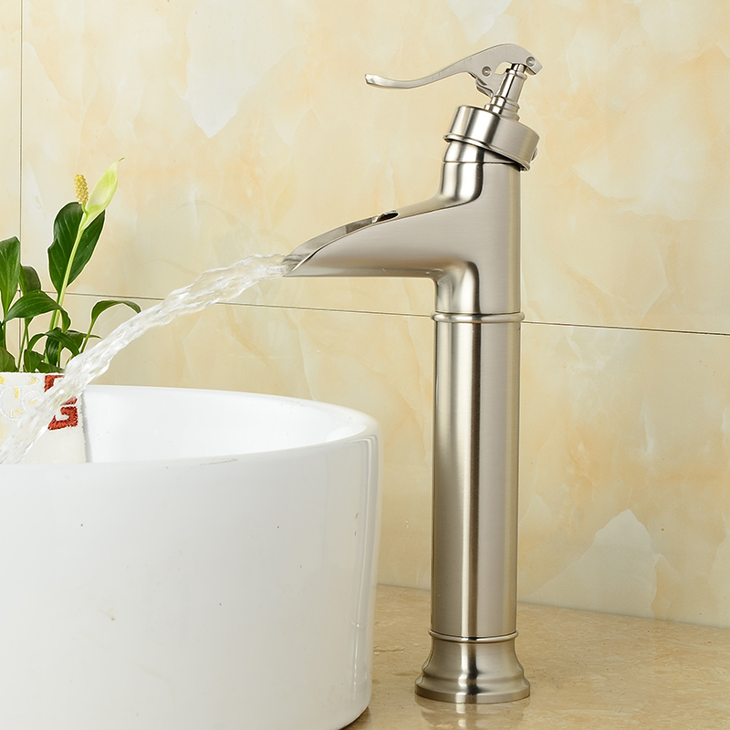 Modern Single Handle Single Hole Nickel Brushed Waterfall Spout Bathroom Basin Faucet Hot and Cold Water  Free Shipping 9015 2016 new arrival best quality single handle single hole brushed nickel water countertop faucet