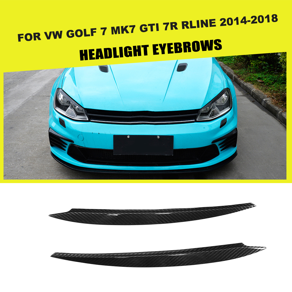 Dry Carbon Fiber Dry FRP Car Styling Headlight Eyelids Headlamp Eyebrows Trim <font><b>Sticker</b></font> for <font><b>VW</b></font> <font><b>GOLF</b></font> <font><b>7</b></font> MK7 GTI R RLINE 14 - 18 image