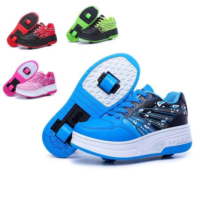 Roller Shoes Boys Girls sneakers tenis infantil Children Kids roller skates  One Two wheels shoes women men sports shoes 477057c06e