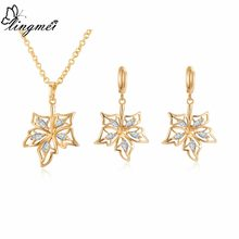 lingmei Wedding Bride Jewelry Sets Fashion Maple Leaf Style White Zircon Yellow Gold Color Pendant Necklace Women Earrings(China)