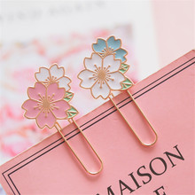 Cherry Sakura Colorful Paper Clip Bookmark Promotional Gift Stationery School Office Supply 6 pcs bag colorful plush ball paper clips bookmarkers planner journal page home school office supply clip bookmarker