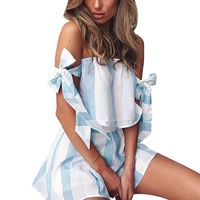 Women Striped Two Piece Suit Set Bodycon Romper Lace Up Bowtie Crop Top Shorts Jumpsuit Summer