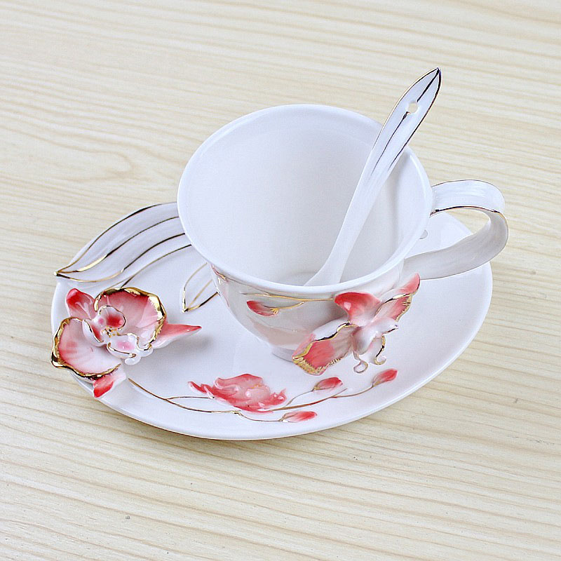 Creative Beautiful Flower Coffee Cup Chinese Ceramic Tea and Coffee Cups Bone china Cup and Saucer Spoon as Exquisite Gift