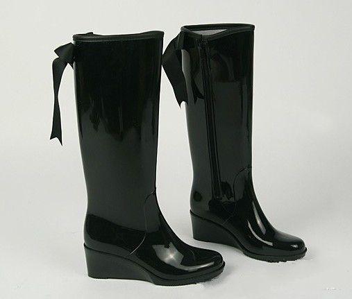 Talon compensé bottes de pluie genou bottes Pvc de pluie bottes pour femmes,  Couleur unie papillon pluie bottes US6 , 7 , 8 , 9  dans Bottes hautes  de
