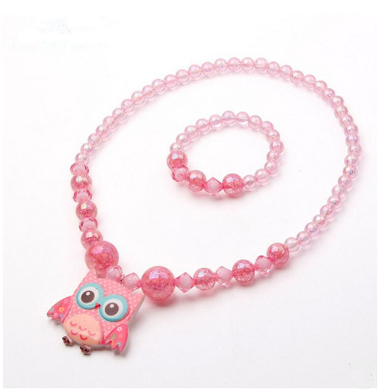High Quality Cute 2pcs Korea Plastic Owl Bear Necklace Bracelet Children Kids jewelry Sets For Girl Gift Party-MLCGJS010F