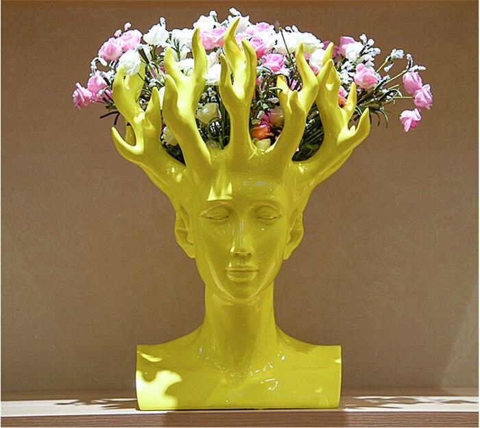 2018 New Design Creative Handmade Resin Human Head Flower Vase