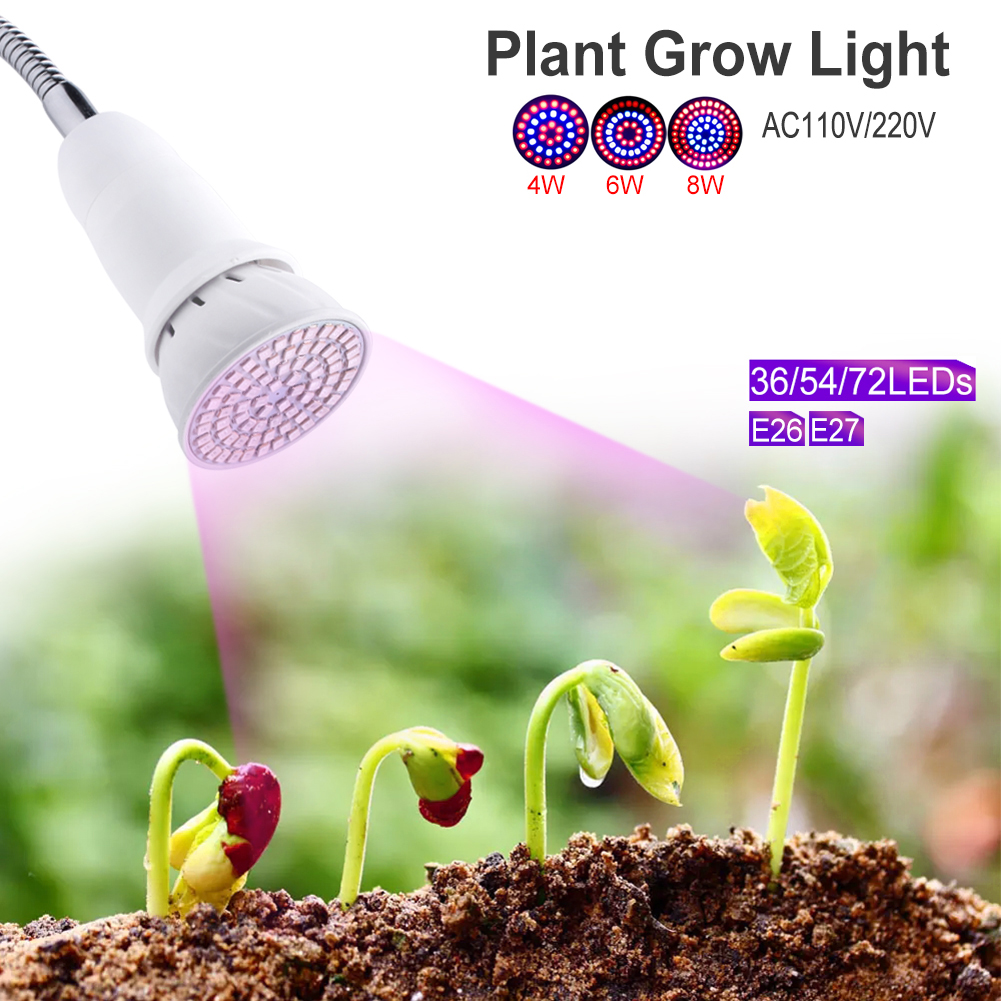 TSLEEN E27 E26 4W 6W 8W SMD2835 LED Grow Lights 110V/220V Plants Growing Lamp for Medicinal Vegetable Flower Indoor Hydroponics