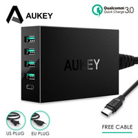 AUKEY PA Y5 5 Port USB 54W Quick Charge 3.0 Multi USB Fast Turbo Wall Charger Type C Charging Station Mobile Phone Desktop