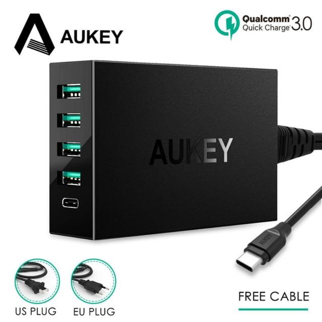 AUKEY PA-Y5 5 порты и разъёмы USB 54 Вт Quick Charge 3,0 Multi быстрая Turbo стены зарядное устройство Тип C зарядная станция мобильного телефона Desktop
