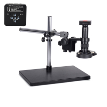 34MP Microscope Camera 2K Industrial Soldering HDMI USB Outputs 180X C-mount Lens 144 LED Light Big Boom Stand for PCB Repair
