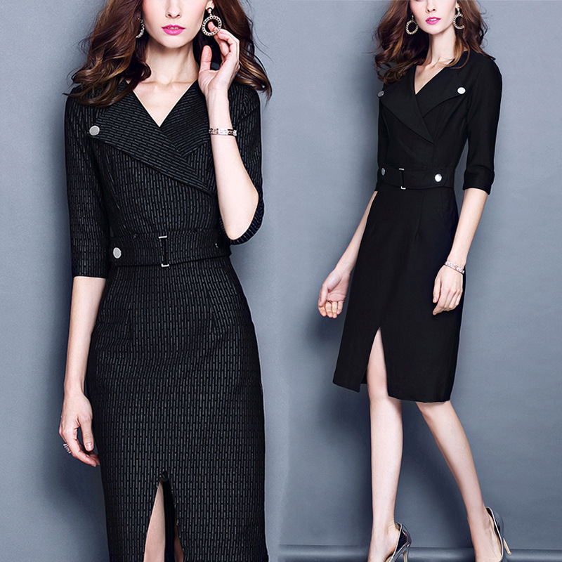 Large size ladies fall and winter new lapel five points sleeves waist split split hip dress women