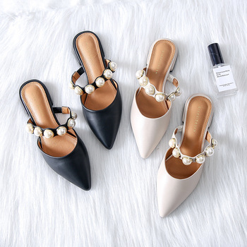 Spiked Flat-soled Slippers Female Summer 2019 New Style Retro-style with Rough heels and Low