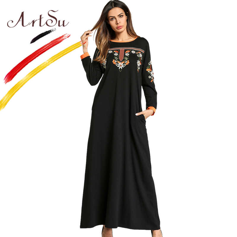 ArtSu Vintage Ethnic Women Floral Embroidery Long Sleeve Black Dress  Oversized Spring Maxi Dress Robe Longue 726864f3b