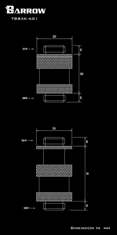 "Купить с кэшбэком Barrow Rotary Connectors Extender (22-31mm) use for SLI CF Card G1/4"" Male to Male Cross Fire Fitting Metal Telescopic fitting"
