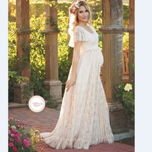 2017 Women White Skirt Maternity Photography Props Lace Pregnancy Clothes Maternity Dresses For pregnant Photo Shoot Clothing(China)