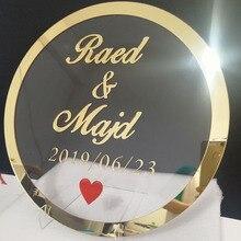 Пользовательские круглые свадебные имя персонализированные зеркальные акриловые рамки невесты жениха имя знак круг Форма вечерние Декор