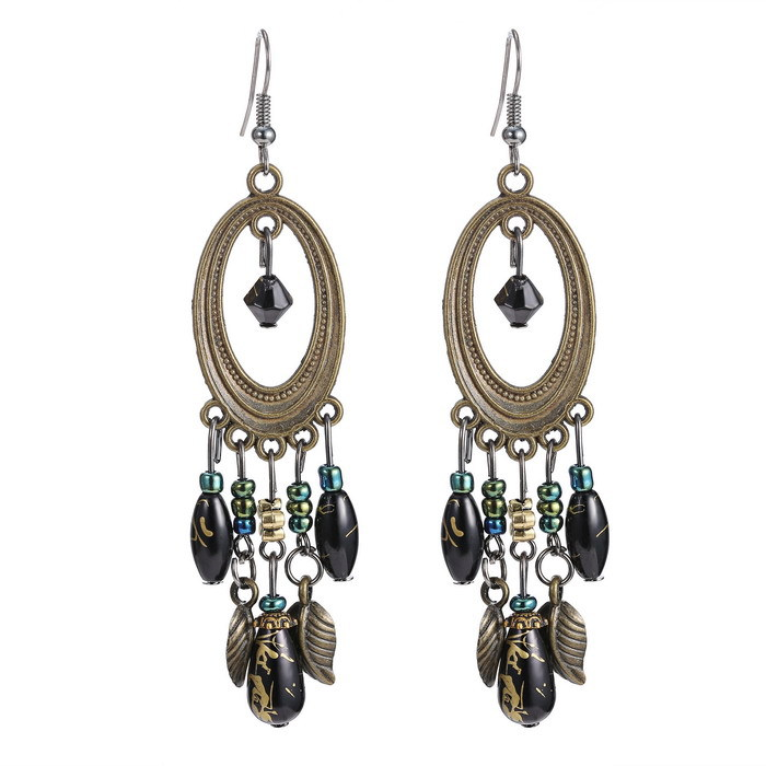 Retro Vintage Handmade Ethnic Style Bohemian Earrings Beadwork Chandelier Vintage Dangle