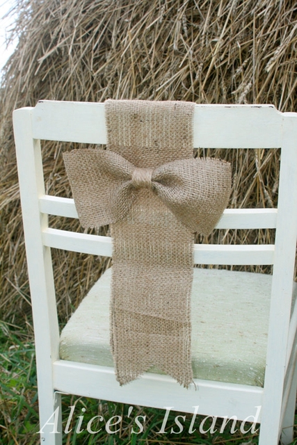 simple diy chair covers memory foam chairs 6pcs lot rustic wedding cover decoration burlap jute decorative bow