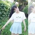 Mujeres de la camiseta 2017 camisa de las mujeres más el tamaño de corea ulzzang harajuku patrón Coco estilo kawaii bordado camiseta de las mujeres del verano