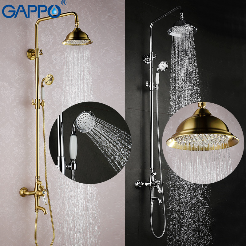 GAPPO bathroom shower faucet set bronze bathtub mixer shower faucet Bath Shower tap waterfall big rain shower headG2497 GA2497-4 free shipping polished chrome finish new wall mounted waterfall bathroom bathtub handheld shower tap mixer faucet yt 5333