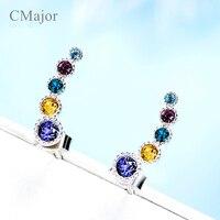 Cmajor cristal multicolor Pendientes de broche para las mujeres plata color cristales Pendientes partido joyería mejor amigo regalos Día de la madre