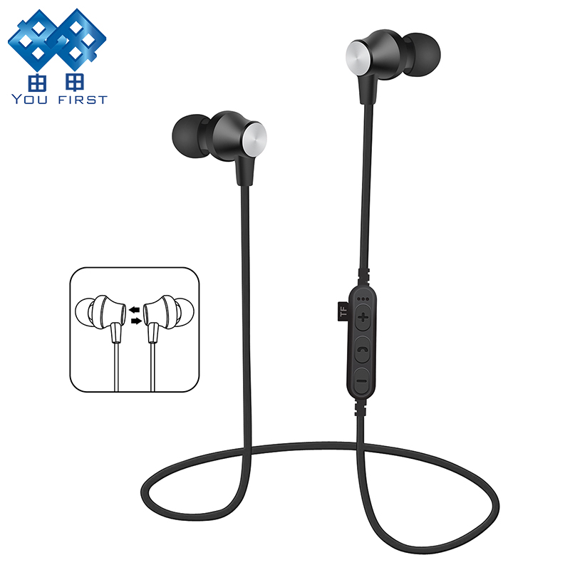 YOU FIRST Earphone Bluetooth Mic Headphones Sport Noise Cancelling Wireless Stereo Bluetooth Earphones Metal Magnet Earphone