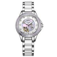 BUREI 15022 Switzerland Watch Women Luxury Brand J12 Series Skeleton Automatic Self Wind Diamond Ceramic White